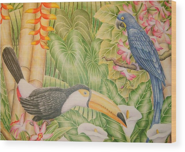 Lanscape Tropical Flower Bird Wood Print featuring the drawing Tropical Dream by Jubamo