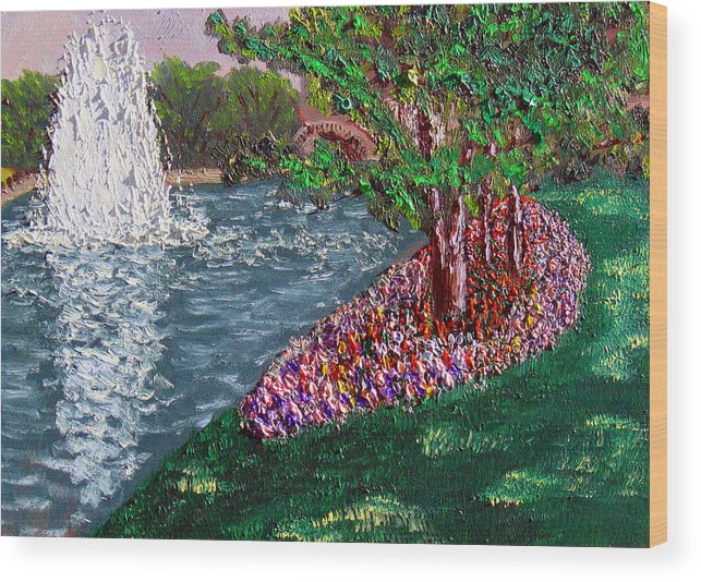 Fountain Wood Print featuring the painting Wrsp August by Stan Hamilton
