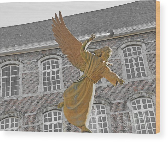 Mask Wood Print featuring the photograph Angel In Gaz Masque Pointing To The Public by Alain Michiels