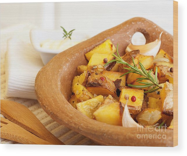 Bake Wood Print featuring the photograph Fried Potato by Anna Om