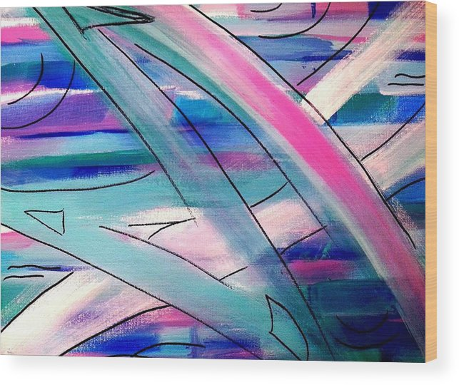 Abstract Seascape Wood Print featuring the painting Sailboats by Nikki Dalton