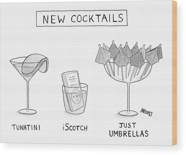 New Cocktails (different New Cocktails Wood Print featuring the drawing New Cocktails by Sam Means