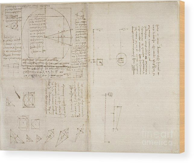 Folio Wood Print featuring the photograph Notes By Leonardo Da Vinci, Codex Arundel by British Library