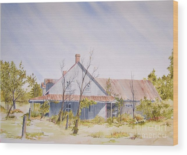 Old House Wood Print featuring the painting Just A Memory by Jackie Mueller-Jones