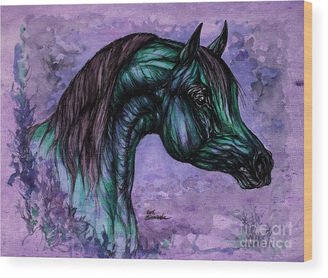 Horse Wood Print featuring the painting Psychedelic Blue by Angel Ciesniarska