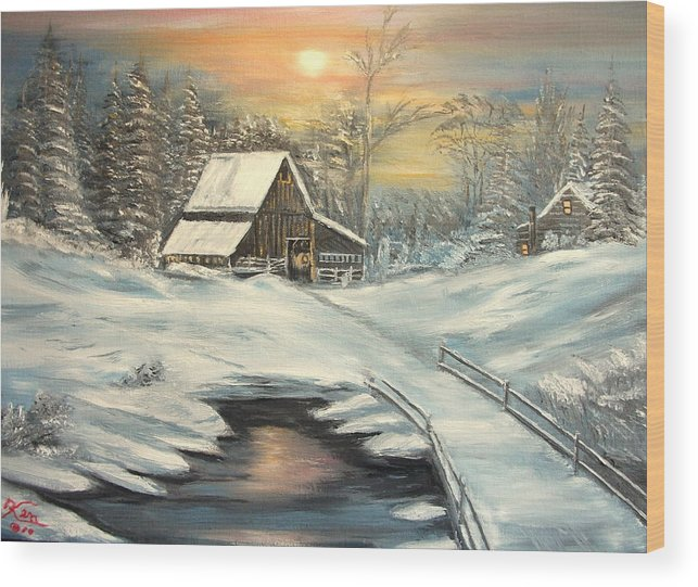Winter Wood Print featuring the painting Winter by Kenneth LePoidevin