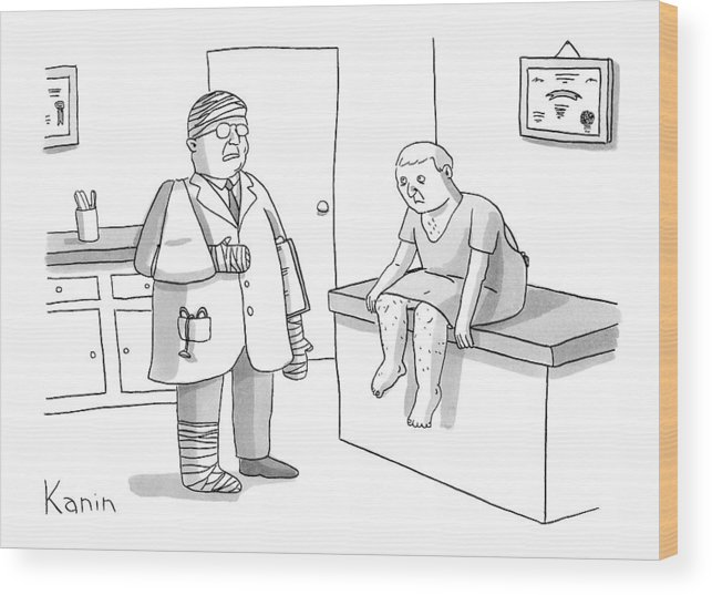 Doctor Wood Print featuring the drawing New Yorker February 2nd, 2009 by Zachary Kanin