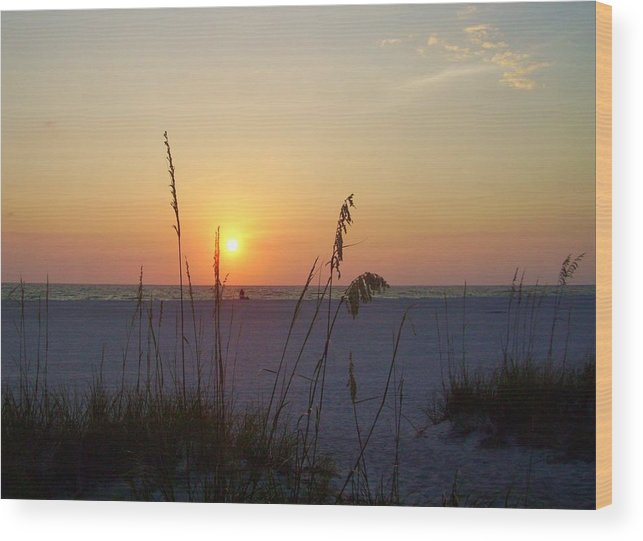 Ocean Wood Print featuring the photograph A Florida Sunset by Cynthia Guinn