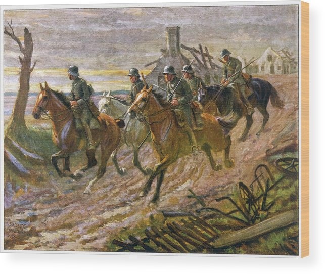 German Wood Print featuring the drawing A German Cavalry Patrol Ride by Mary Evans Picture Library