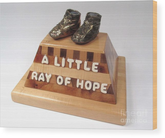 Baby Shoes Wood Print featuring the sculpture A Little Ray Of Hope #115 by Bill Czappa