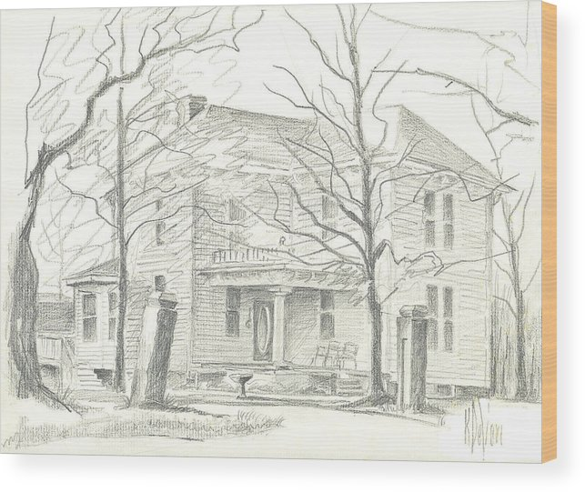 American Home Ii Wood Print featuring the drawing American Home II by Kip DeVore