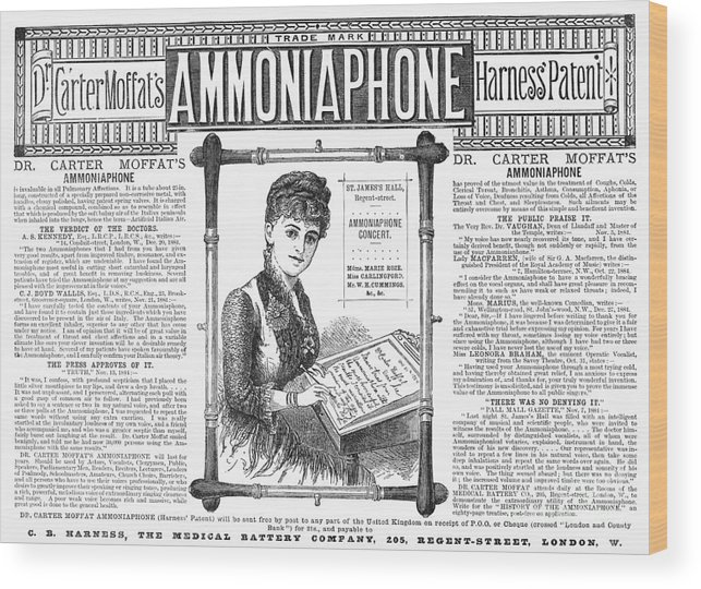 1885 Wood Print featuring the photograph Ammoniaphone, 1885 by Granger