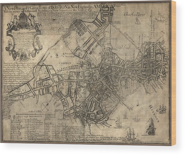 Antique Boston Map.Antique Map Of Boston By William Price 1769 Wood Print By Blue Monocle
