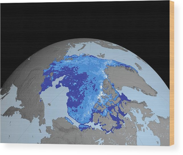 Earth Wood Print featuring the photograph Autumn Arctic Sea Ice Thickness by Nasa/gsfc-svs/science Photo Library