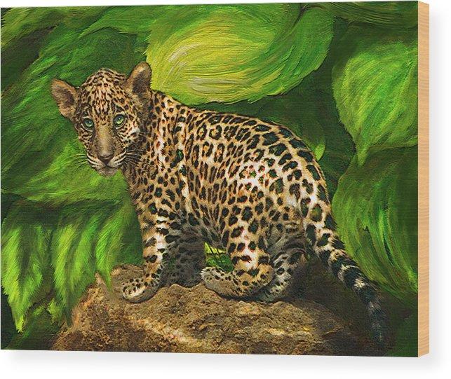 Jaguar Wood Print featuring the digital art Baby Jaguar by Jane Schnetlage