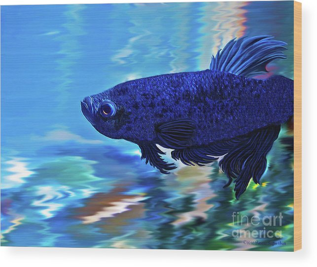 Fine Art Photography Wood Print featuring the painting Blue Boy by Patricia Griffin Brett