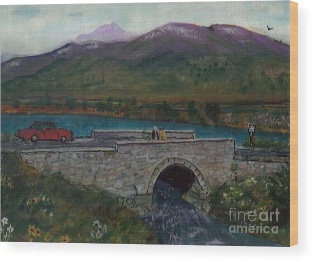 Reservoir Wood Print featuring the painting Bridge By Reservoir by Debbie Wassmann