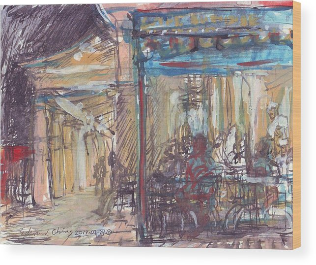 Jackson Wood Print featuring the drawing Cafe Du Monde At Night by Edward Ching