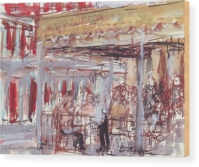 Café Wood Print featuring the drawing Cafe Du Monde by Edward Ching