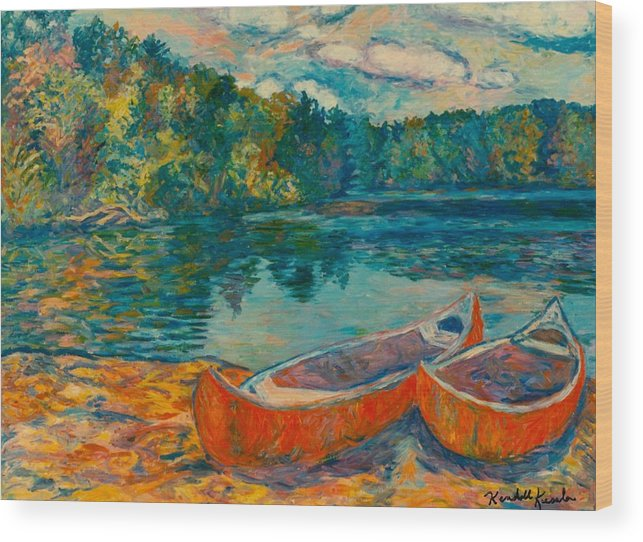 Landscape Wood Print featuring the painting Canoes At Mountain Lake by Kendall Kessler