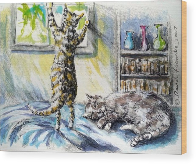 Greeting Card Wood Print featuring the pastel Cats Being Cats by David Francke