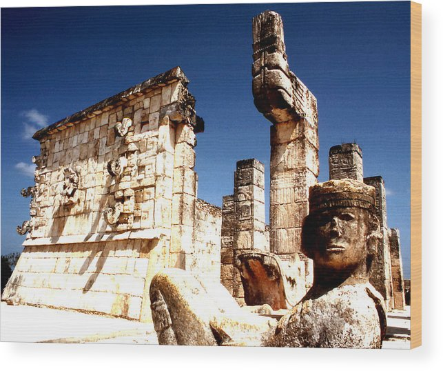Archaeological; Chichen Itza; Chac Mool; Mayan; Yucatan; Mexico; Travel; Still Lifes; Fine Art. Wood Print featuring the photograph Chichen Itza - Chac Mool Guardian by Robert Rodvik
