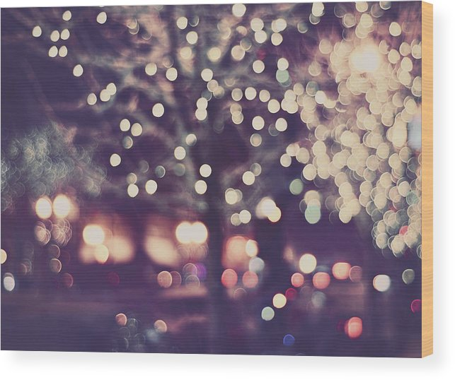 Christmas Wood Print featuring the photograph Christmas Lights Retro Purple Mauve Holiday Photograph by Elle Moss