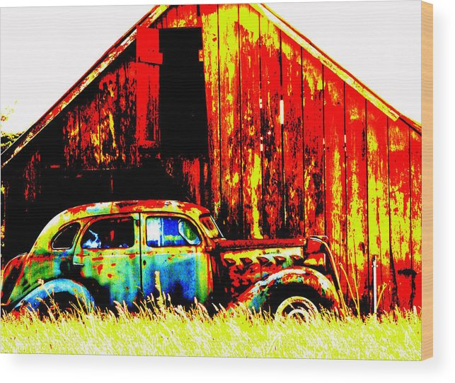Jalopy Wood Print featuring the photograph Colorful Past by Mamie Gunning