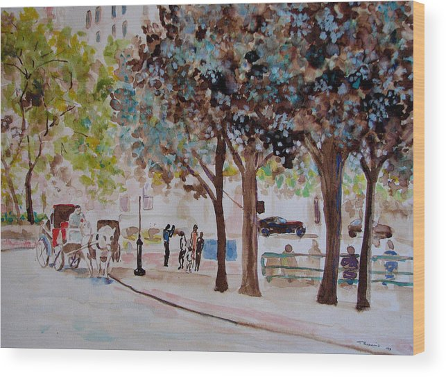 Cityscape Wood Print featuring the painting Columbus Circle In New York by Lucille Femine