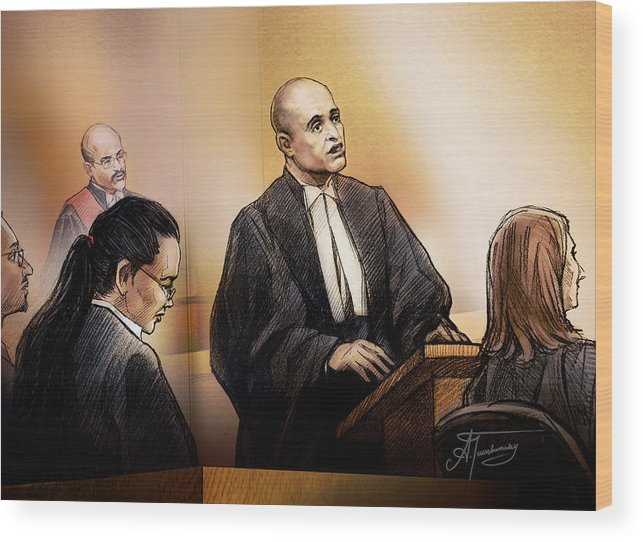 Defence Lawyer Edward Sapiano At Jennifer Pan Trial Wood Print featuring the painting Defence Lawyer Edward Sapiano At Jennifer Pan Trial by Alex Tavshunsky