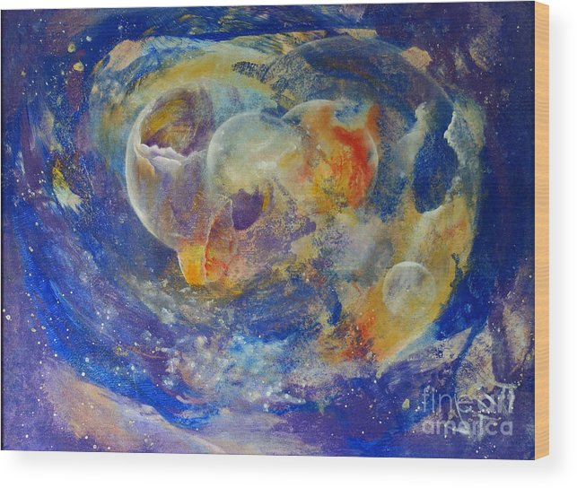Abstract Wood Print featuring the painting Dreamscape by Valia US