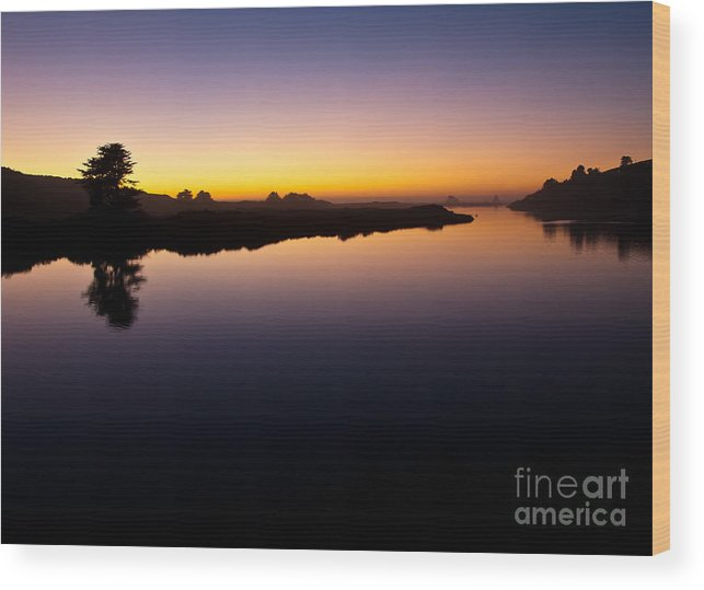 Sonoma County Wood Print featuring the photograph Dusk On Russian River 2.2751 by Stephen Parker