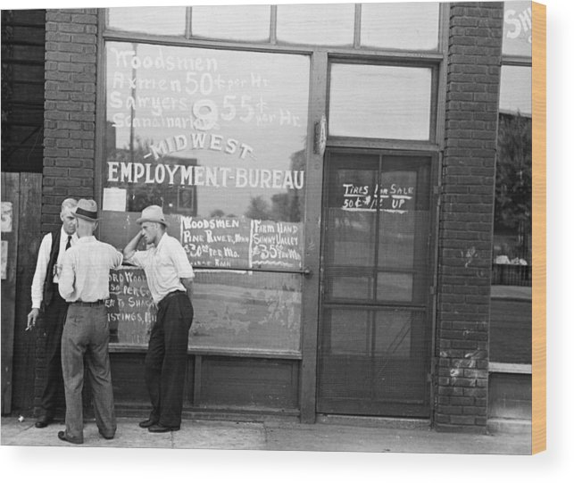 1937 Wood Print featuring the photograph Employment Bureau, 1937 by Granger