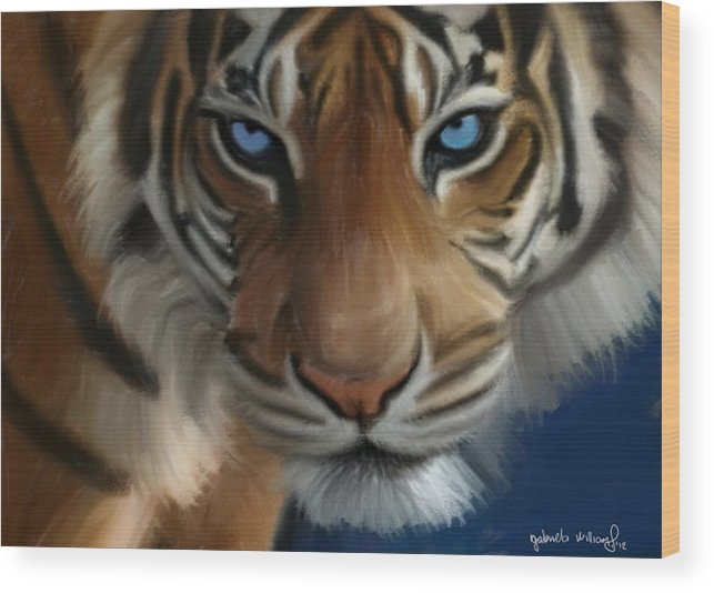 Tiger Wood Print featuring the painting Enchanted Blue Eyes by Nydia Williams