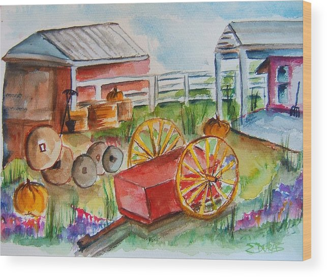 Farm Wood Print featuring the painting Farmers Backyard by Elaine Duras
