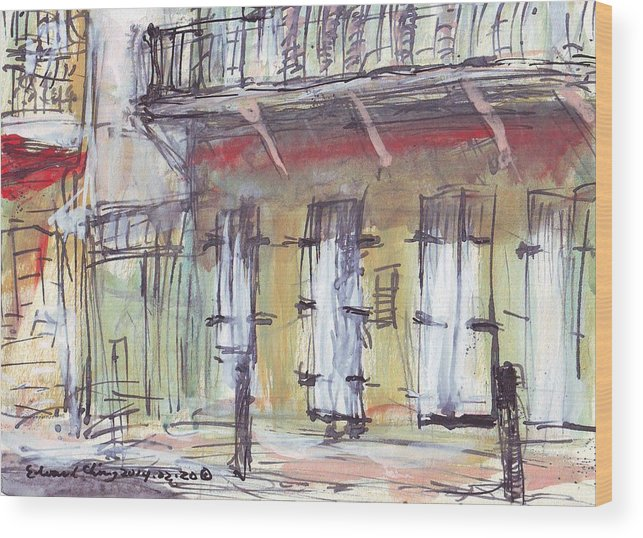 Jackson Wood Print featuring the drawing French Quarter by Edward Ching