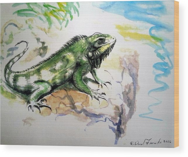 Tropical Wood Print featuring the painting Iguana On Beach by David Francke