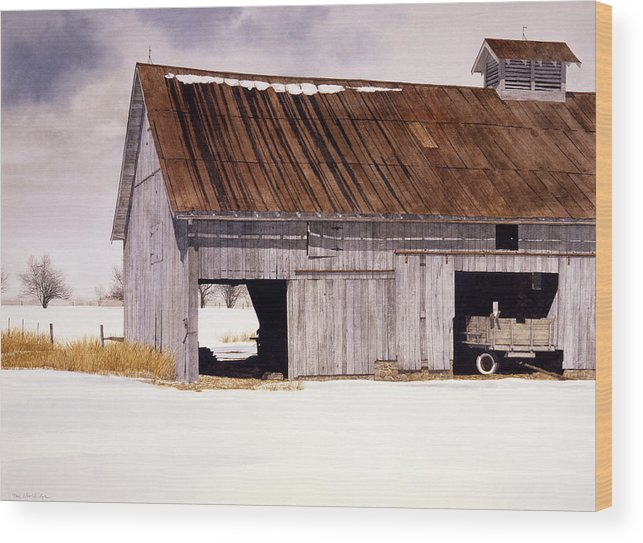 Landscape Wood Print featuring the painting Lin's Barn by Tom Wooldridge