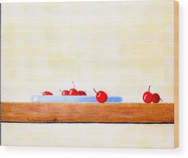 Cherries Wood Print featuring the painting Lite Life by A Robert Malcom