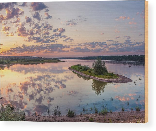 Quiet Wood Print featuring the photograph Little Island On Sunset by Dmytro Korol
