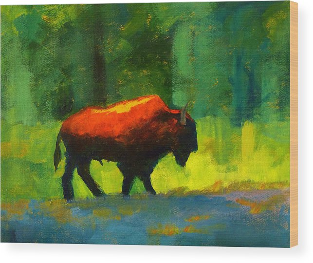 Abstract Wood Print featuring the painting Lumbering by Nancy Merkle