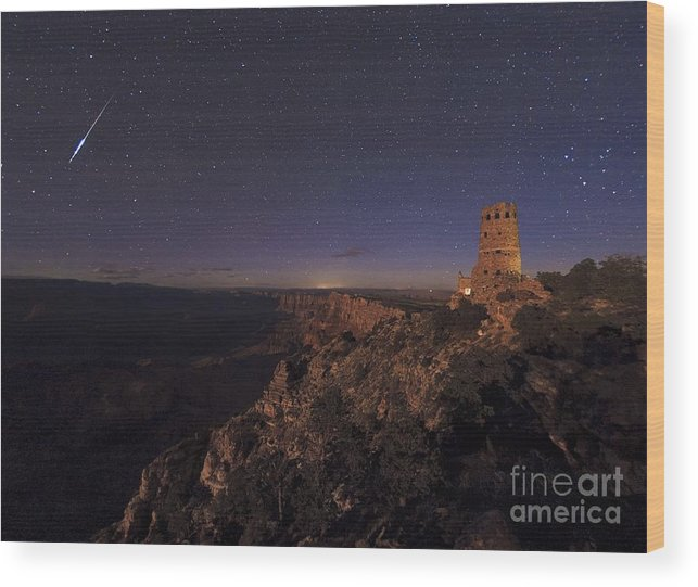 Astronomical Wood Print featuring the photograph Meteor Over Grand Canyon, Usa by Babak Tafreshi