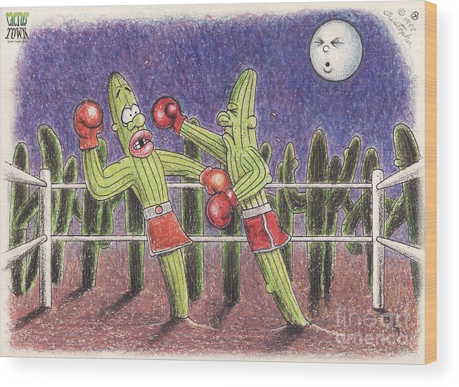 Cactus Town Wood Print featuring the digital art Moonlight Fight by Cristophers Dream Artistry