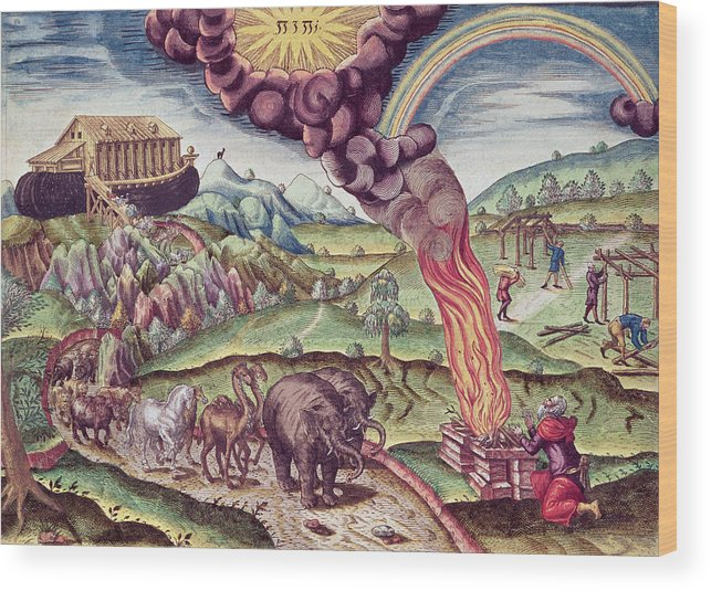 L'arche De Noe Wood Print featuring the photograph Noahs Ark, Illustration From Brevis Narratio..., Published By Theodore De Bry, 1591 Coloured by Th. Bry