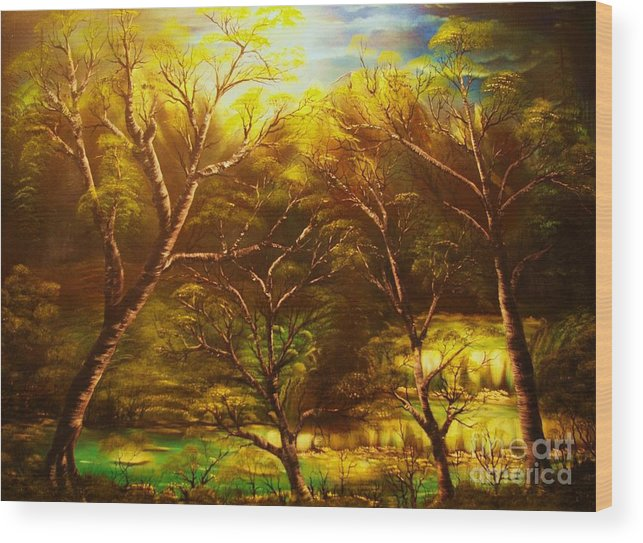 Landscape Wood Print featuring the painting Norwegian Night-original Sold- Buy Giclee Print Nr 36 Of Limited Edition Of 40 Prints by Eddie Michael Beck