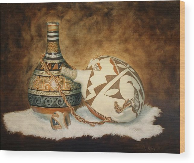 Roena King Wood Print featuring the painting Oil Painting - Indian Pots by Roena King