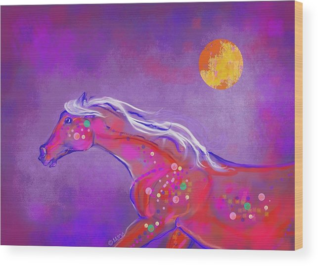Horse Wood Print featuring the digital art Pony Of Color by Mary Armstrong