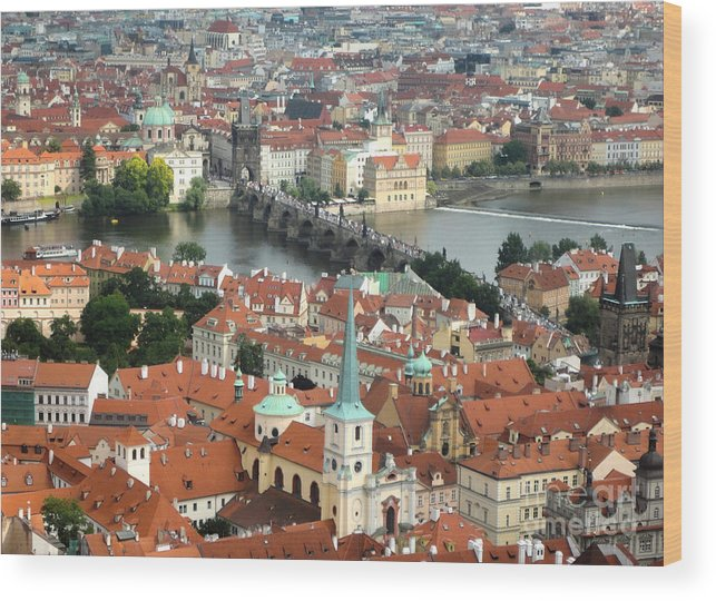 Wood Print featuring the photograph Prague - View From Castle Tower - 03 by Gregory Dyer
