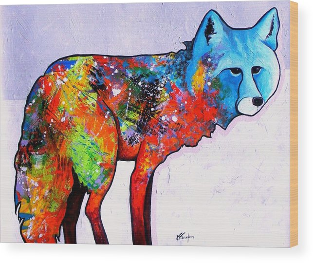 Animal Wood Print featuring the painting Rainbow Warrior - Fox by Joe Triano