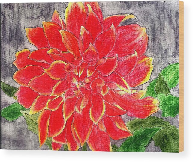 Flower Wood Print featuring the painting Red Dalia by Margie Byrne
